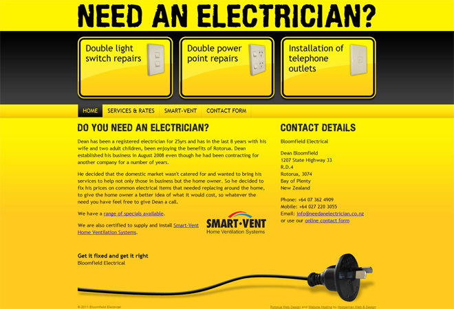 Need an Electrician - Hodgeman Web Design