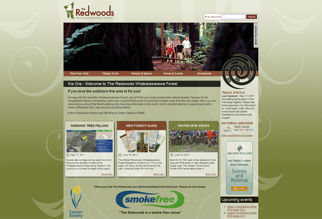 The Redwoods, Rotorua: The original Redwoods website