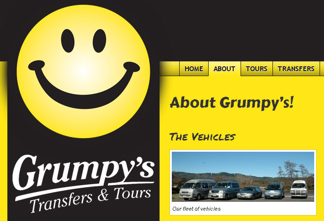Grumpy's Transfers & Tours: Smiley and logo