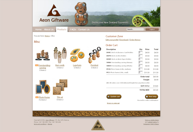 Aeon Giftware: Members order cart