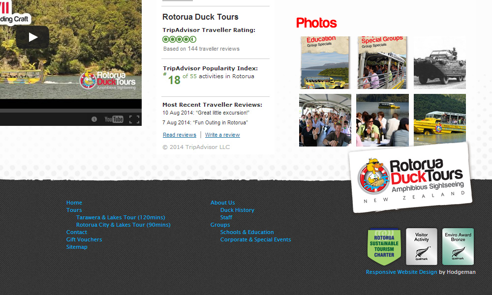 Rotorua Duck Tours: v2015 - Footer detail