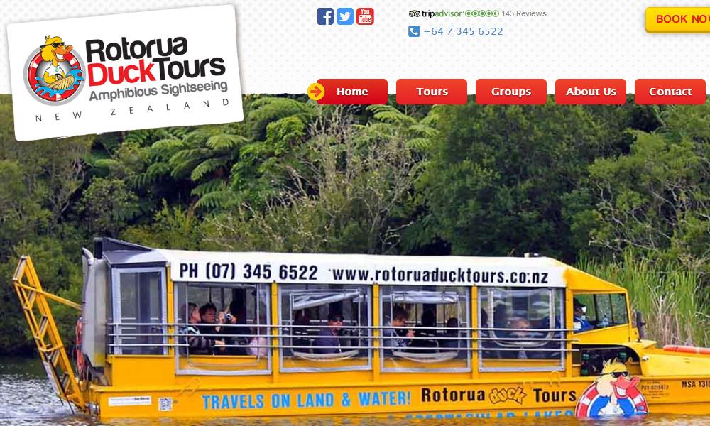 Rotorua Duck Tours: v2015 - 1:1 scale homepage